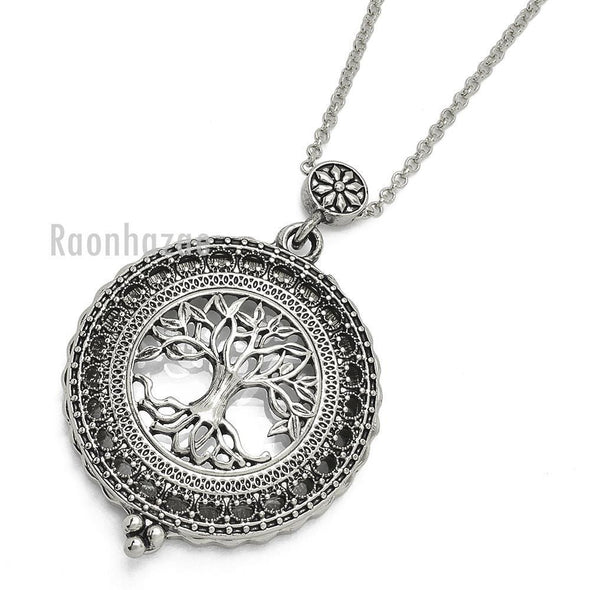 "New Silver 5X Magnifying Glass Tree of Life Pendant 31"" Chain Necklace SJ045S - Raonhazae"