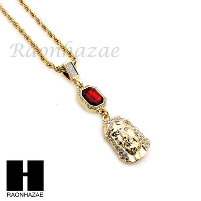 MENS ICED OUT LAB DIAMOND GOLD CUBAN CHAIN RED RUBY JESUS COMBO 2 NECKLACES SET1 - Raonhazae