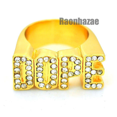 HIP HOP FASHION ICED OUT SOLID CHUNKY A$AP DOPE GOLD PLATED RING N003G - Raonhazae