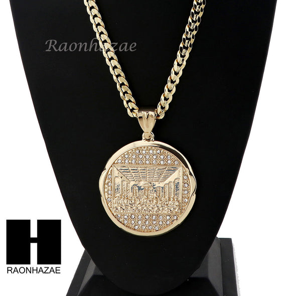 HIP HOP LAST SUPPER PENDANT & DIAMOND CUT CUBAN LINK CHAIN NECKLACE N45 - Raonhazae