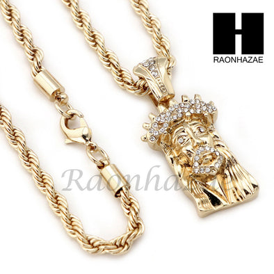 "MEN JESUS FACE ROPE CHAIN DIAMOND CUT 30"" CUBAN LINK CHAIN NECKLACE S10 - Raonhazae"