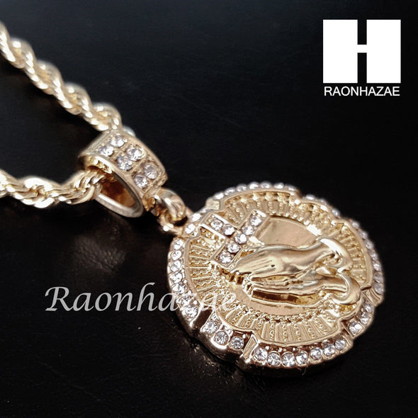 "MEN ICED OUT PRAYING HAND CROSS PENDANT 30"" CUBAN LINK CHAIN NECKLACE SET 94G - Raonhazae"