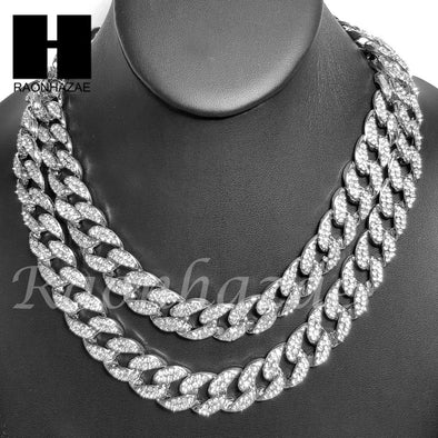 "Rhodium PT 15mm 8.5"" - 24"" Miami Cuban Choker Chain Necklace Bracelet - Raonhazae"