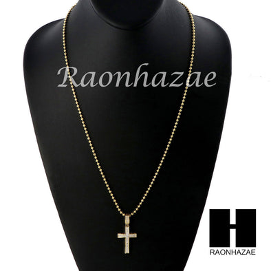 Sterling Silver .925 AAA Lab Diamond Jesus Cross w/ 2.5mm Moon Chain 22 - Raonhazae