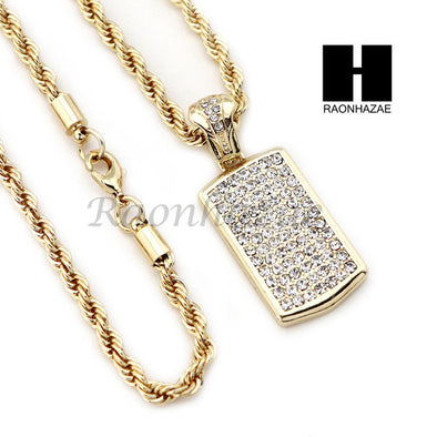 "MEN DOG TAG ROPE CHAIN DIAMOND CUT 30"" CUBAN LINK CHAIN NECKLACE S05G - Raonhazae"