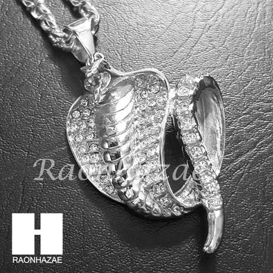 316L Stainless steel Silver Bling Cobra w/ 5mm Cuban Chain SG09 - Raonhazae