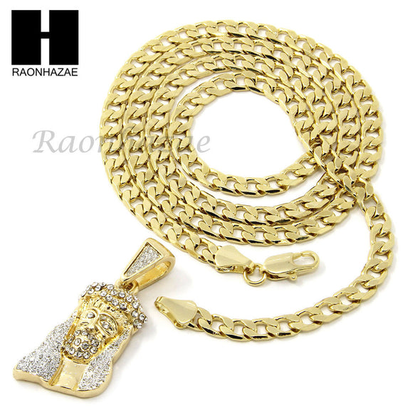 "MENS HIP HOP ICED OUT JESUS FACE CZ PENDANT 24"" CUBAN NECKLACE N023 - Raonhazae"