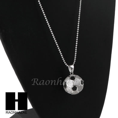 Sterling Silver .925 AAA Lab Diamond Soccer Ball w/ ball Chain SS008 - Raonhazae