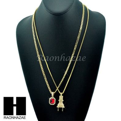"HIP HOP ELECTRIC PLUG / RED RUBY 24"" BOX / CUBAN LINK CHAIN NECKLACES - Raonhazae"