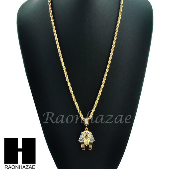 "EGYPTIAN KING TUT PHARAOH 14K GOLD PLATED 24"" ROPE NECKLACE CHAIN KN024 - Raonhazae"