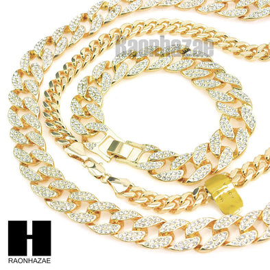 "Gold Lab Diamond Necklace 15mm 30"" 24"" Miami Cuban Link Chain, Bracelet - Raonhazae"