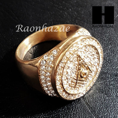 NEW FREEMASON G MASONIC COMPASS GOLD TONE CUBIC RING 8-12 S95G - Raonhazae