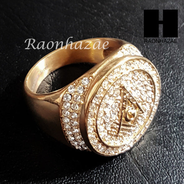 NEW ICED OUT FREEMASON G MASONIC COMPASS GOLD TONE CUBIC RING 8-12 S95G - Raonhazae