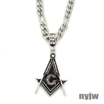 "NEW VINTAGE MENS FREEMASON MASONIC PENDANT 5mm 24"" FIGARO CHAIN SSP035T - Raonhazae"