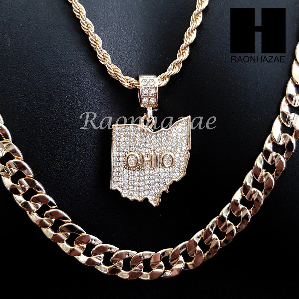 Men iced out ohio state map us pendant 30 cuban link chain necklace men iced out ohio state map us pendant 30 cuban link chain necklace set s91g aloadofball Gallery