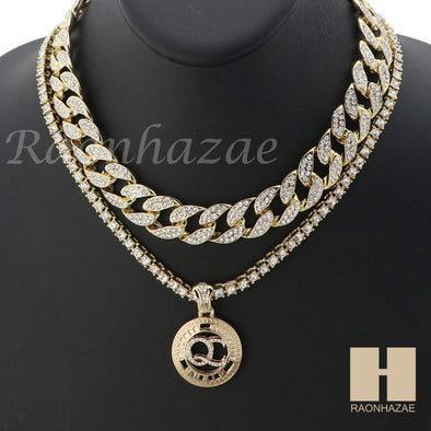 "MENS 14K GOLD PT QC ROUND ICED OUT MIAMI CUBAN 16""~30"" CHOKER TENNIS CHAIN S037 - Raonhazae"