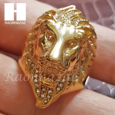 MENS 316L STAINLESS STEEL LION KING FACE GOLD SILVER TONE RING 8-12 SG036 - Raonhazae