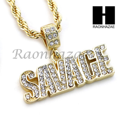 "MENS BLING SAVAGE PENDANT DIAMOND CUT 30"" CUBAN CHAIN NECKLACE SET G32 - Raonhazae"
