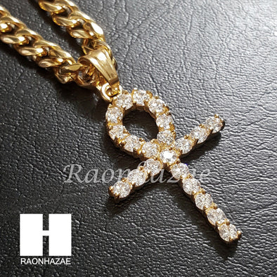 316L Stainless steel Gold Egyt Ankh Cross 5mm Cuban Chain SG015 - Raonhazae