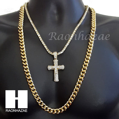 "G-EAZY CROSS CHARM 16""-30"" TENNIS CHOKER 30"" CUBAN CHAIN NECKLACE G21 - Raonhazae"