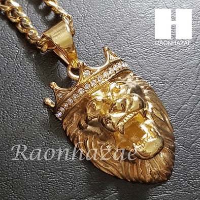 316L Stainless steel Gold Bling King Lion w/ 5mm Cuban Chain S23 - Raonhazae