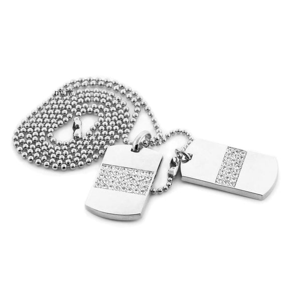 "RICH GANG DOUBLE DOG TAG 18k GOLD FILLED W 30"" BALL CHAINS DTC003GS - Raonhazae"