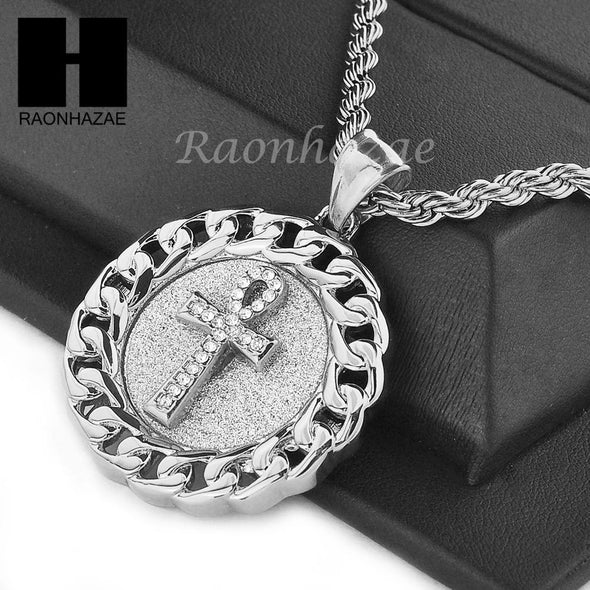 "MENS STAINLESS STEEL ANKH CROSS MEDALLION PENDANT 24"" ROPE CHAIN NECKLACE NP014 - Raonhazae"