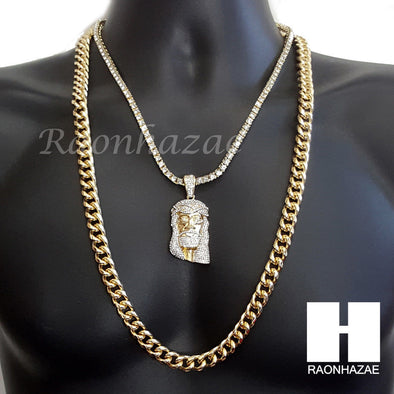 "G-EAZY JESUS CHARM 16""-30"" TENNIS CHAIN 30"" CUBAN CHAIN NECKLACE G22 - Raonhazae"