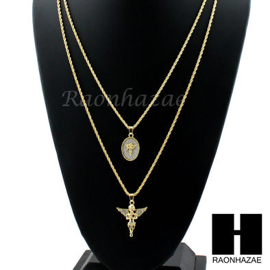 "ICED OUT MINI & ROUND GOLD  MEDAL ANGEL PENDANT 24"" 30"" ROPE CHAIN NECKLACE COMBO SET - Raonhazae"
