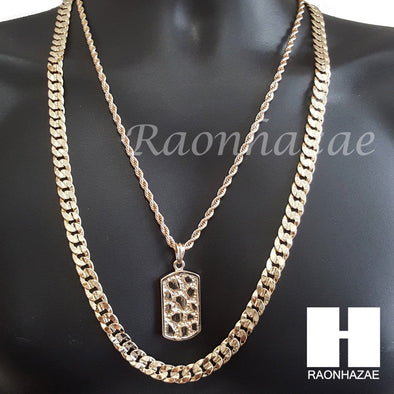 "ICED OUT NUGGET DOG TAG ROPE CHAIN DIAMOND CUT 30"" CUBAN LINK CHAIN NECKLACE S59 - Raonhazae"