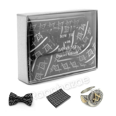 MENS MASONIC FREEMASON LODGE ATTIRE BOW TIE SILVER COMPASS HANKY SET W/ RING S1 - Raonhazae