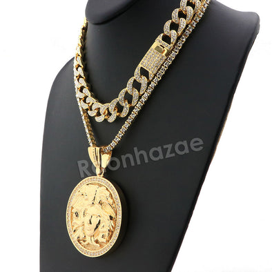 Hip Hop Iced Out Quavo MEDUSA Miami Cuban Choker Tennis Chain Necklace L10 - Raonhazae
