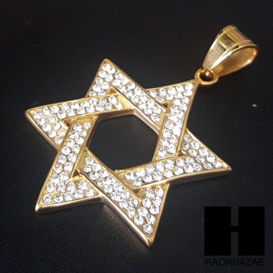 316L Stainless steel Gold 6 Point Star Pendant Miami Cuban SS034 - Raonhazae
