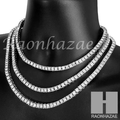 Iced Out Silver Tennis Choker Necklace 1 Row Solitaire Lab Diamond 4.5mm Chain S - Raonhazae
