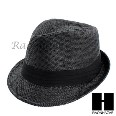 MEN WOMEN SUMMER BEACH PANAMA STRAW FEDORA TRILBY CUBAN BLACK HAT F002 - Raonhazae