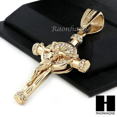 "Men 14k Plated Jesus Cross Crucifix Pendant 30"" Iced Out Cuban Link Chain NN033G - Raonhazae"