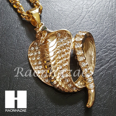 316L Stainless steel Gold Bling Cobra w/ 5mm Cuban Chain SG09 - Raonhazae