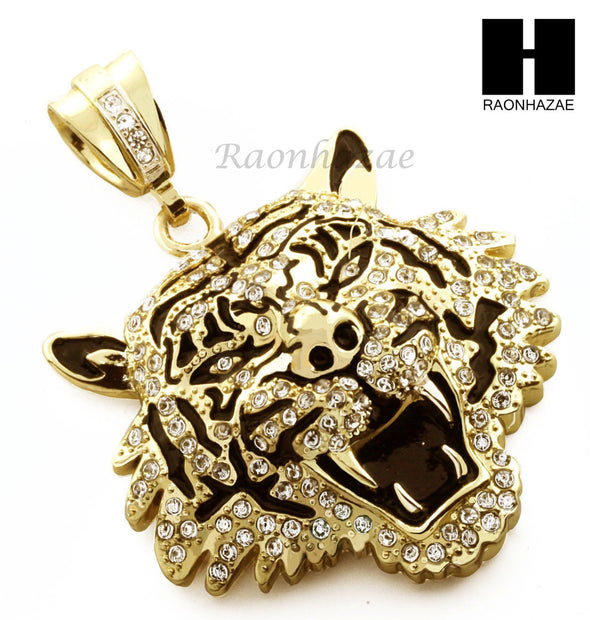 "Men Iced Out Drake Tiger only Pendant or w/ 4mm 36"" Franco Chain Necklace FS009 - Raonhazae"