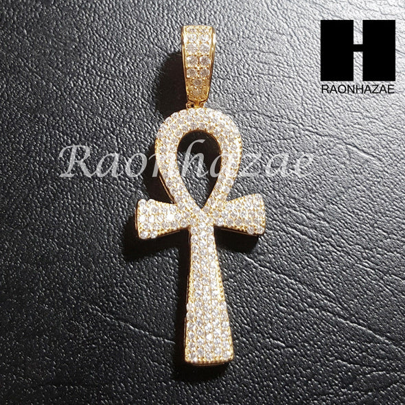 "Sterling Silver .925 AAA Lab Diamond Ankh Cross 2.5mm 20"" 24"" Moon Cut Chain 39G - Raonhazae"
