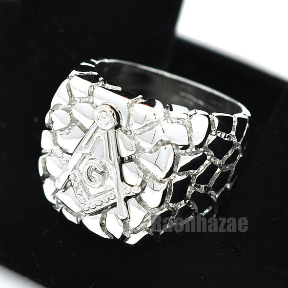 NEW MENS FREEMASON MASONIC SILVER PLATED NUGGET RING SIZE 8 - 13 N012S - Raonhazae