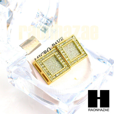 Square Earrings Large Micro Pave Gold Tone Hip Hop 18mm Big Bling GE138 - Raonhazae
