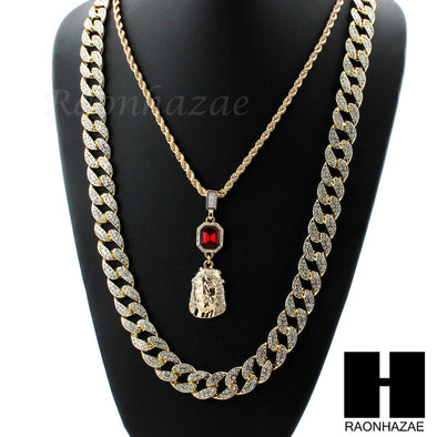 MENS LAB DIAMOND GOLD CUBAN CHAIN RED RUBY JESUS COMBO 2 NECKLACES SET1 - Raonhazae