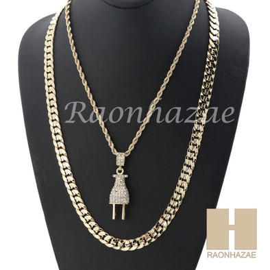 "MEN ICED OUT PLUG ROPE CHAIN DIAMOND CUT 30"" CUBAN LINK CHAIN NECKLACE SET SS02G - Raonhazae"