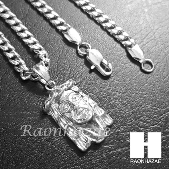 316L Stainless steel Silver Jesus Face w/ 5mm Cuban Chain SG016 - Raonhazae