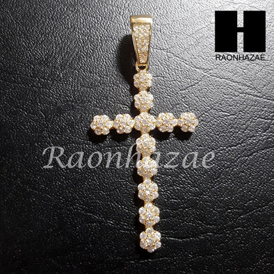 "Sterling Silver .925 AAA Lab Diamond Cross w/2.5mm 20"" 24"" Moon Cut Chain 41G - Raonhazae"