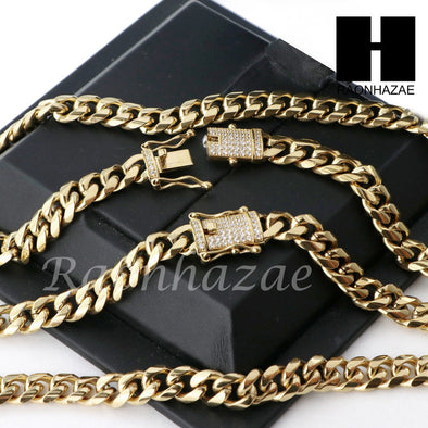 Men 18k Gold Plated 10mm Diamond Clasp Cuban Miami Link Bracelet & Chain Set S02 - Raonhazae