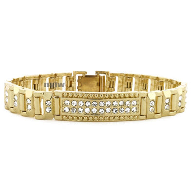 "ICED OUT 14K GOLD PLATED MICRO PAVE SIMULATED DIAMOND 8.5"" BRACELET KB013G - Raonhazae"