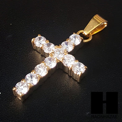 316L Stainless steel Gold 2Pac Cross Pendant Miami Cuban SS037 - Raonhazae