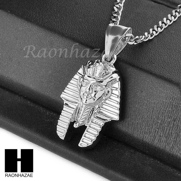 "MENS STAINLESS STEEL MINI EGYPTIAN KING-TUT CZ PENDANT 24"" CUBAN NECKLACE NP009 - Raonhazae"
