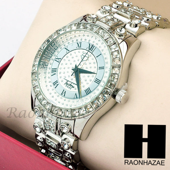 Men Techno Pave Lil Wayne Hip Hop Lab Diamond14K White Gold Iced Out Watch 196S - Raonhazae